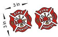 ホワイト/レッド反射ビニールデカールFire Dept Maltese Cross消防士ステッカー2pk