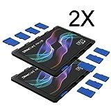 DiMeCard micro8 microSD メモリーカードホルダー―COLOR WAVE エディションマルチパック, 2個セット (クレジットカード・サイズの超薄型ホルダー、記入可能なラベル)