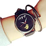 ZooooM おもしろ ウォッチ シンプル デザイン 文字盤 アナログ 腕 時計 ファッション アクセサリー ユニーク カジュアル メンズ レディース 男性 女性 (バナナ:ブラック) ZM-TABEMOJI-BABK