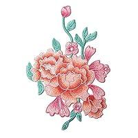 刺繍アップリケDIYのパッチを縫う牡丹アップリケパッチ布アップリケ
