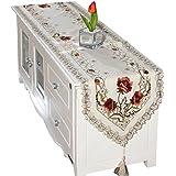 (ビグッド) Bigood 優雅 レース 刺繍 花柄 テーブルランナー タッセル付き テーブルセンター 食卓飾り パーティー インテリア 装飾 40 * 150cm