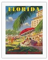 フロリダ - 電車で行きます - ペンシルバニア鉄道 - ビンテージな世界旅行のポスター c.1950s - キャンバスアート - 51cm x 66cm キャンバスアート(ロール)