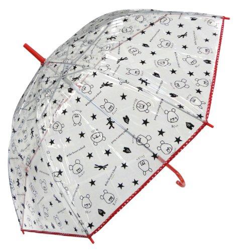 サンマルコ くまのがっこう 傘 ビニール総柄 レッド 60cm
