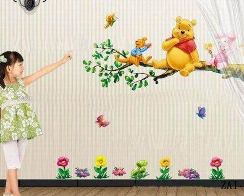 (プリンセス)Princess生のり付き装飾壁紙 ウォールステッカー 保育園 キッズ子供ルーム 寝室などで使用できる ディズニー プーさん 59*33 CM