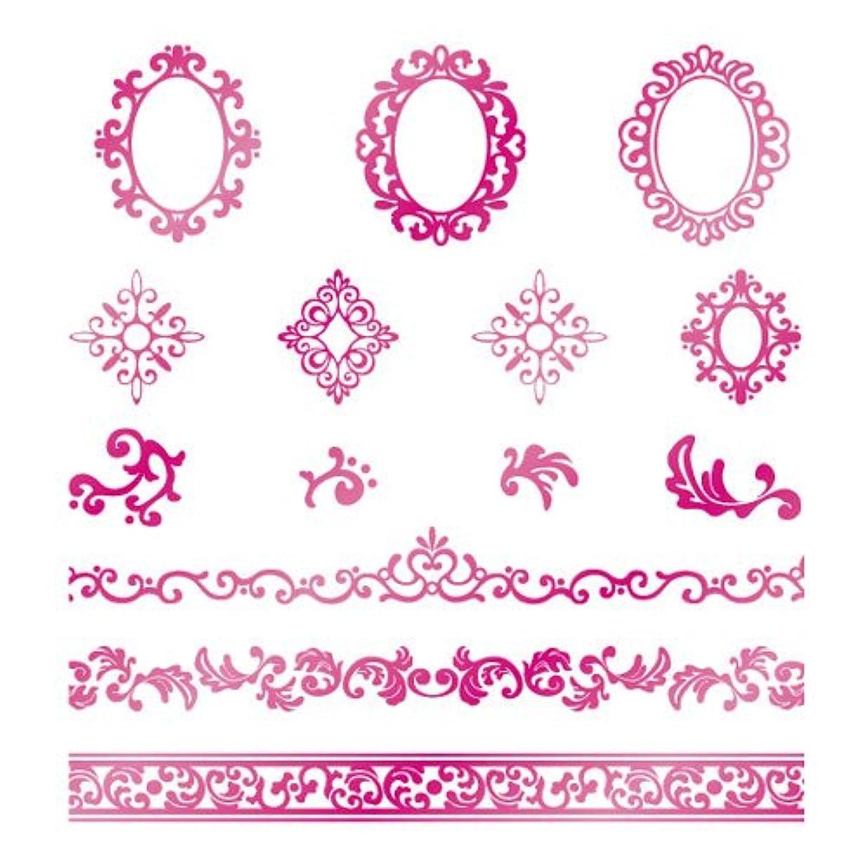 フックズーム波ツメキラ ネイル用シール  プレミアム ロココ メタリックピンク