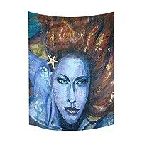 タペストリー Vintage Mermaid Tattoo Art Cotton Linen Wall Hanging Tapestry, Home Decor Collection Bedroom Living Room Dorm