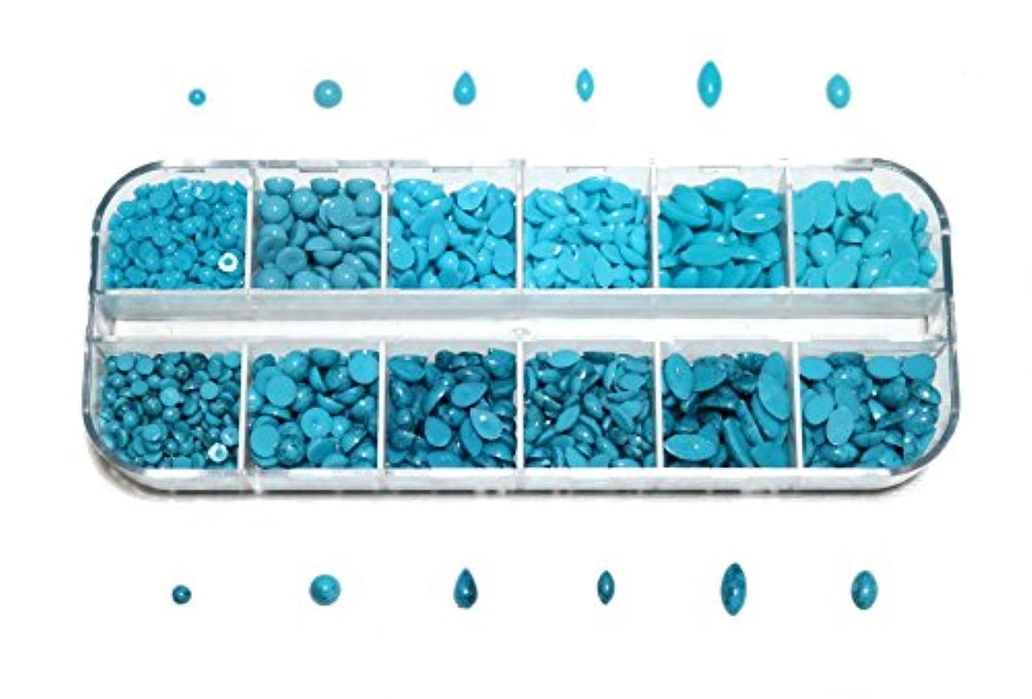 ミッション約束する穿孔する【jewel】sk3 アソート ターコイズ マーブル柄&プレーンSET 大容量 約1500粒 ネイルアート & レジン ラインストーン