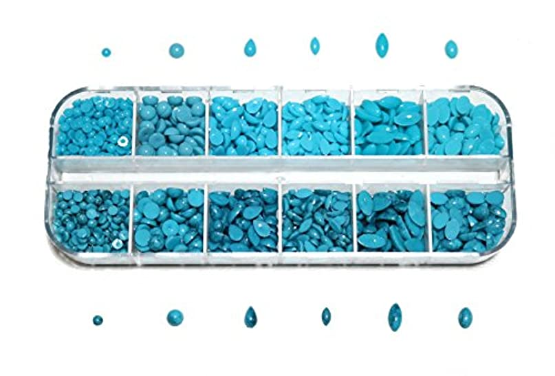 自分まともな利点【jewel】sk3 アソート ターコイズ マーブル柄&プレーンSET 大容量 約1500粒 ネイルアート & レジン ラインストーン