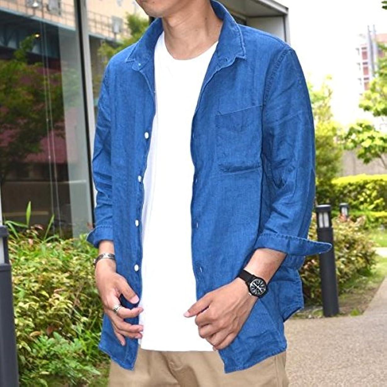 ブロック正しくむさぼり食うシップス(メンズ)(SHIPS) SU: インディゴ リネン7スリーブワイヤーシャツ【ライトブルー/SMALL】