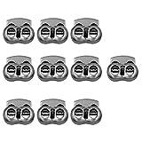 SONONIA 金属 楕円形 ストリング コードロック 2穴 トグル スプリングクラスプ ストップ 全2選択 - 10個