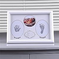 Pure Vie ベビー フォトフレーム 足を汚さない 赤ちゃん フォトフレーム ベビープリント 手形 足形 写真立て 赤ちゃん 出産祝い 内祝い ベビー手形記念品 置き掛け兼用 上質な木製フレーム ベビーギフト男女兼用 ホワイト サイズ/31 x 22 CM #24