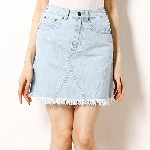 イーハイフンワールドギャラリー(E hyphen world gal バックローズ刺繍デニムスカート【158ライトインディゴ/F】