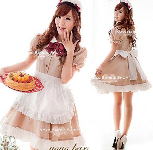 【Upwing】メイド服 豪華6点セット♪モカ色 メイド喫茶 コスプ・・・