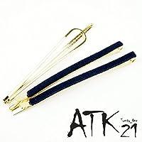 [ATK21] (3本セット) 【ネイビー】シンプル スエード ゴールド プレート ヘアピンセット ヘアアクセサリー