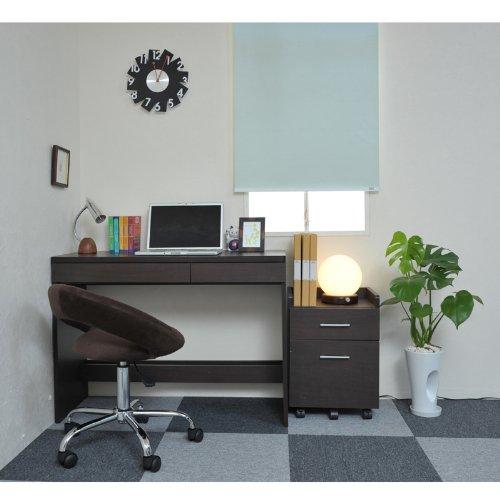 JKプラン 書斎デスクのシンプルデスク サイドキャビネット付き 幅100cm ダークブラウン SGT-0092-DB