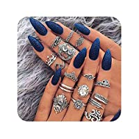 Eoumy Statement Vintage Knuckle Rings Set Retro Silver Crystal Joint Stacking Finger Rings Set for Women Girl,8/9/10/11/13/16pcs Pack
