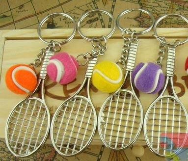 【ノーブランド品】 テニスラケット & ボール キーホルダー 12個セット 記念品 景品などに