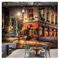 Mingld カスタム3D壁壁画市夜景壁紙バーカフェレストラン背景壁装飾フレスコ画3D-250X175Cm