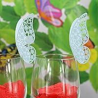 KOZEEY結婚式 パーティー クリスマス テーブル ワイン グラス カード  メッセージ用カード 席札  装飾  蝶型 50枚 ブルー