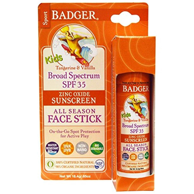 プレミア骨折永久Badger Company, Kids Sport Sunscreen All Season Face Stick, SPF 35, Tangerine & Vanilla, .65 oz (18.4 g)