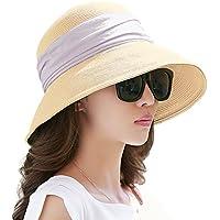 SIGGI Womens Hand-Crocheted Straw Floppy Sun Hat Foldable UPF Beading Decoration