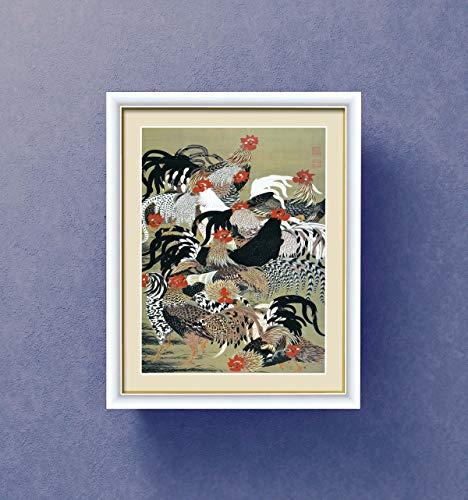 【若冲 鳳凰 旭日】【動植綵絵額】群鶏・白鳳・鶏■伊藤若冲 額装品 (群鶏図, F4白)