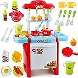 夢の空 ままごと遊び 子供の料理教室シミュレーション台所用品キッチンテーブル、楽しいシミュレーション 知育玩具ギフト レッド
