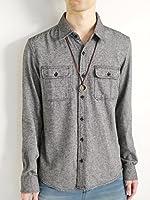 (モノマート) MONO-MART 起毛 フランネルシャツ 暖 ウィンドペン チェック 無地 コットン メンズ