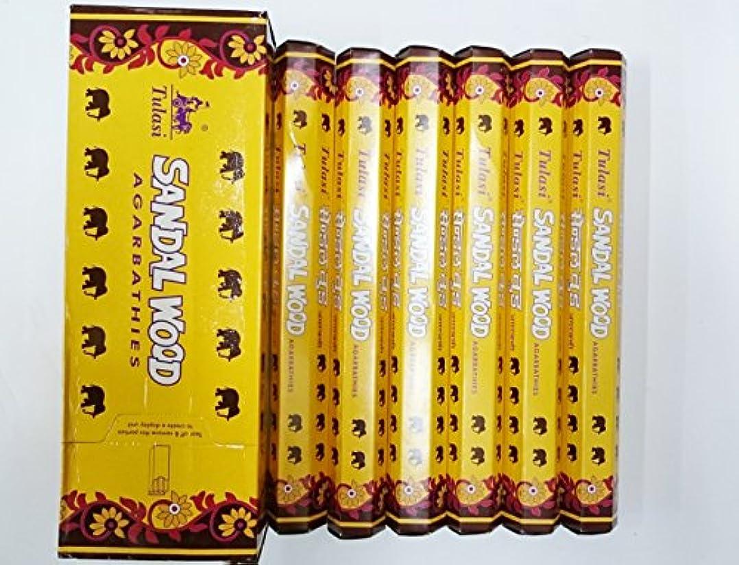 予防接種する介入するまろやかなTulasi サンダルウッド(SANDAL WOOD)香 スティック 6角(20本入り)×6箱 HEXAPACK