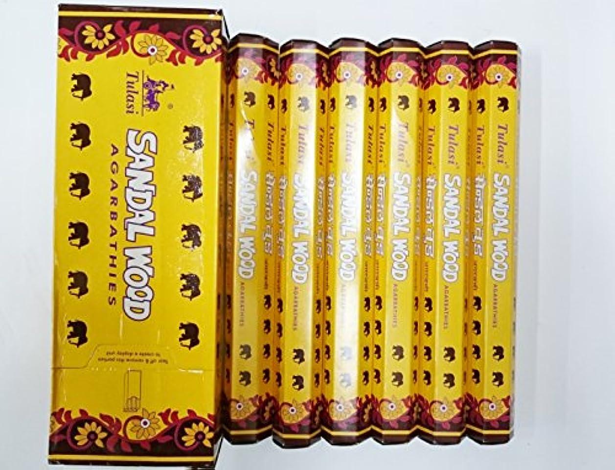 バラバラにする少なくとも郊外Tulasi サンダルウッド(SANDAL WOOD)香 スティック 6角(20本入り)×6箱 HEXAPACK