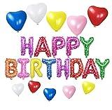 HAPPY BIRTHDAYバルーン ハート型風船10個 5色 誕生日 飾り付け セット(アルファベットlv-04)