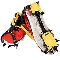 アイゼン スノースパイク 10本爪 ステンレス 滑り止め 簡単着脱 20.5-31cm 調節可 収納ケース付き