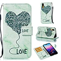 (For Huawei P20) Flip Wallet Case Cover and 360 Degree Full Body Protective Bumper Cover, Premium 女の子 Material - Green