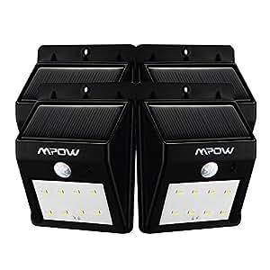 Mpow 8LED ソーラーライト センサーライト 外灯 玄関ライト ワイヤレス人感センサー 夜間自動点灯 軒先/庭/ガーデン/庭先/玄関周りなど対応 防犯用(四点セット)