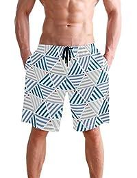VAWA 水着 メンズ サーフパンツ おしゃれ ビーチパンツ 海水パンツ 短パン 吸汗速乾 大きいサイズ 水陸両用 三角形柄 縞柄 幾何学