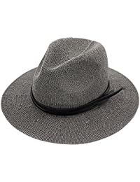 XZP 夏のストロー帽子、女性のためのバンドの装飾と古典的な西部カウボーイ麦わら帽子夏のビーチ帽子
