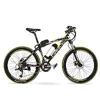 "MX2000 26""48V 10Ahマウンテンバイク、大電力リチウムバッテリーEバイク27スピード、ディスクブレーキ、30〜40km / h (黒黄, 標準+予備電池)"