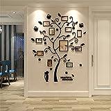 PANCY フォトフレーム 壁掛け 写真フレーム 11枚セット アクリル ウォールステッカー 壁装飾 ねこ 木 シール 立体的(ブラック,高さ1.75m)