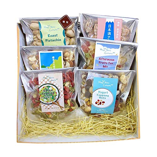 ハッピーナッツカンパニー バラエティーギフト 6種類入り 木箱風ボックス ミックスナッツ アーモンド トッピングナッツ フルーツミックス ピスタチオ