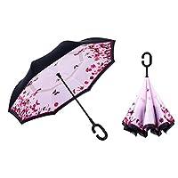 Sumeber 長傘 レディース 逆折り式傘 車用傘 外袋付き 閉じると自立可能 耐風 撥水 遮光遮熱 コーティング C型手元 UVカット 8本骨 晴雨兼用 男女兼用 (初めての恋)