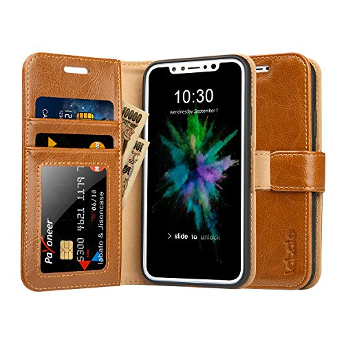 Labato iPhone X ケース 手帳型 本革レザー TPU スタンド カードポケット アイフォンXケース 財布型 手作り ハンドメイド 耐摩擦 耐汚れ 全面保護 フリップ 人気 ( ブラウン)