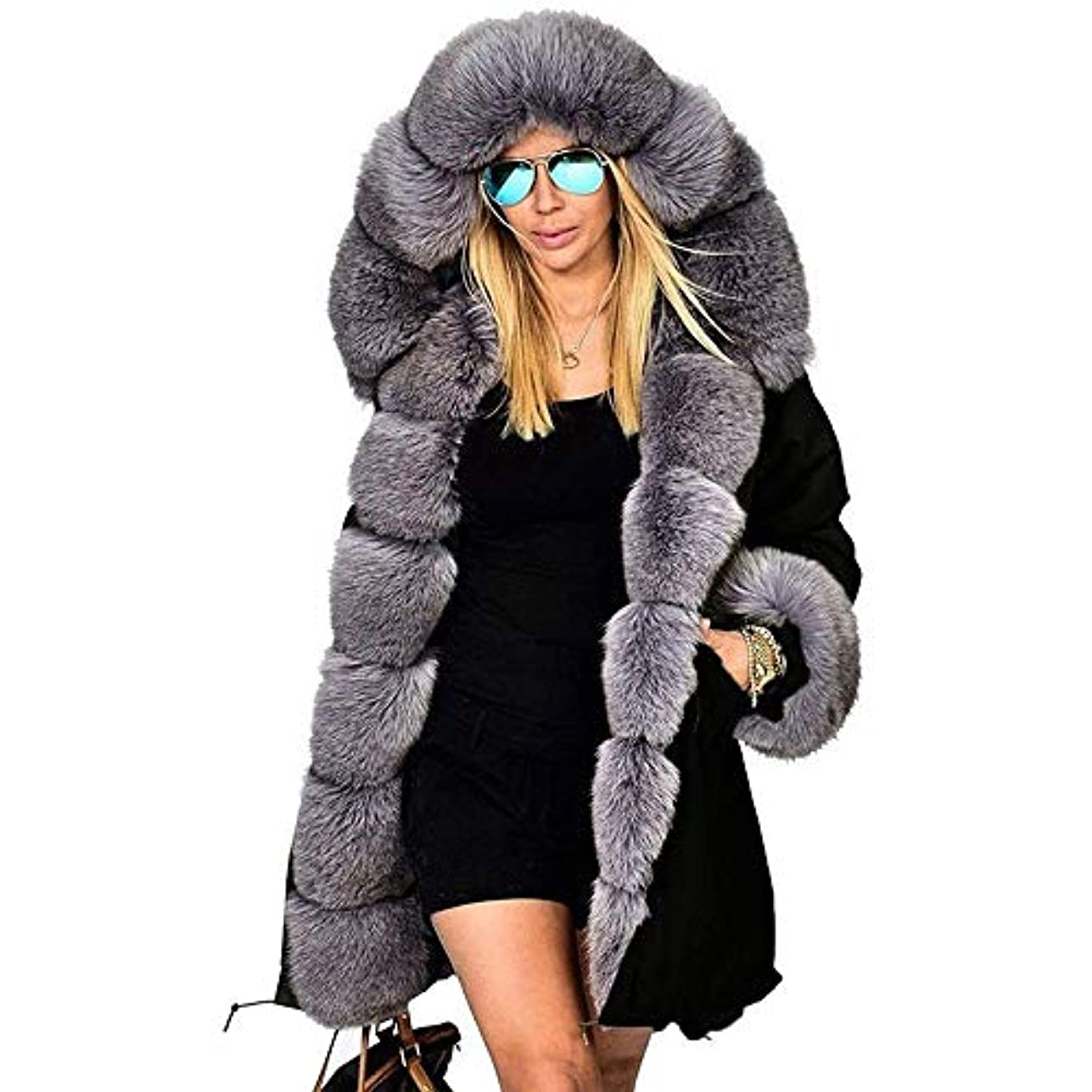 ファッションウィメンズジャケット女性ウォームコートフェイクファーコットンオーバーコート女性ロングフードコートパーカー,XXL