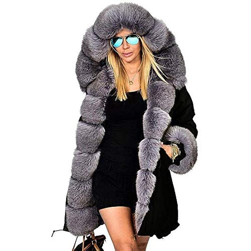 傾斜憂鬱な医薬ファッションウィメンズジャケット女性ウォームコートフェイクファーコットンオーバーコート女性ロングフードコートパーカー,XXL