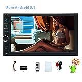Android 5.1 2 DIN GPSナビゲーション+オートラジオ Wifi+Bluetoothハンズフリー通話 クアッドコア1.6G 高性能Cortex A9 CPU 16Gフラッシュカード 様々なアプリダウンロード可 カーステレオオーディオ OBD FMラジオ+MP3プレーヤー FM/AM/AUX入力/USBポート/リモコン/ミラーリング付き 7インチ型デジタルメディアレシーバー