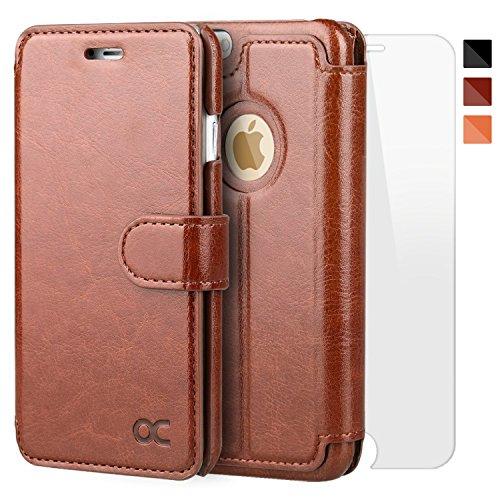 OCASE iPhone6s plus ケース / iPhone6 plus ケース 手帳型ケース カバー 「強化ガラスフィルム付き」 財布型 スタンド機能 マグネット式 カード収納 ポケットホルダー付き 人気 おしゃれ ブラウン