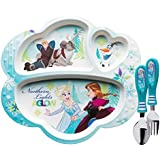 Zak Designs Frozen Divided Plate, Fork and Spoon Set, Disney Frozen, 2 Piece Set