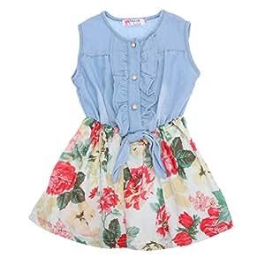 48d5de75e81be Domybest 子供服 女の子 ワンピース サンドレス 可愛い ドレス ガールズ ワンピース 花柄 デニム スカート ノースリーブ
