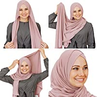 Cotton head scarf, instant black hijab, ready to wear muslim accessories for women