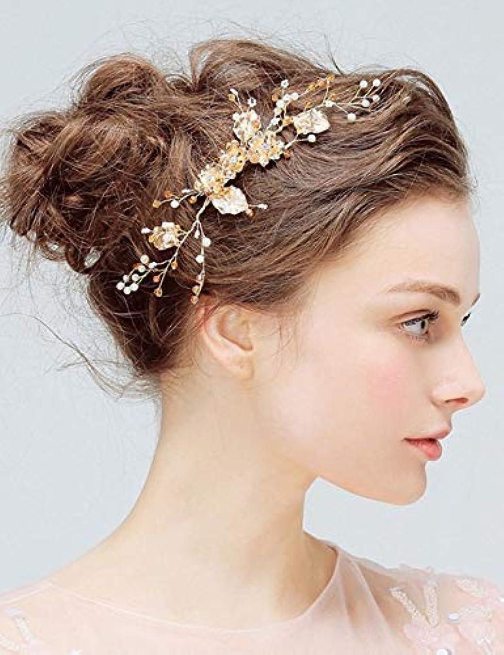 限りなく日食まともなDeniferymakeup Bridal Comb Floral Gold Crystal Leaf Bridal Hair Comb Vintage Inspired Hairpiece Crystal Comb Veil...