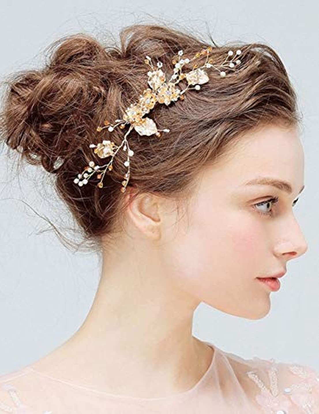 ミッション生命体豊富Deniferymakeup Bridal Comb Floral Gold Crystal Leaf Bridal Hair Comb Vintage Inspired Hairpiece Crystal Comb Veil...